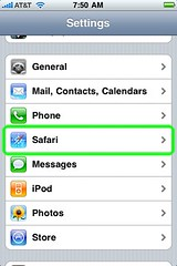 Safari in the Settings app