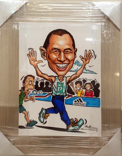 marathon runner caricatures in clear acrylic frame