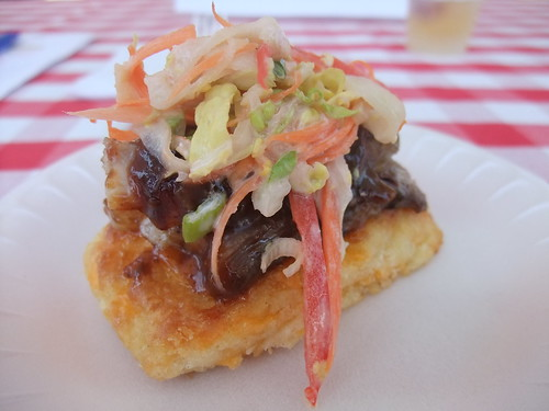 Pork Belly on Cheddar Biscuit with Slaw