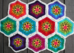 New hexagon blanket (rettgrayson) Tags: wool crochet hexagon colourful biggan