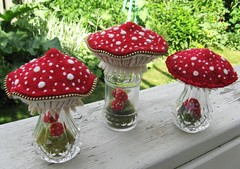 A few more mushroom terrariums (woolly  fabulous) Tags: red cute green glass recycled zipper embroidered terrarium ecofriendly saltandpeppershakersmushrooms