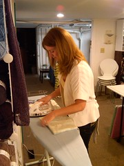 Kristin ironing her pillowcase