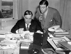 Comedian Lou Costello 'advising' Mayor Fiorello La Guardia in his City Hall office, circa 1936. (La Guardia and Wagner Archives) Tags: laguardia fiorellolaguardia fiorello thelittleflower mayorlaguardia