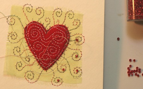 heart embroidered greeting card by cliodhna