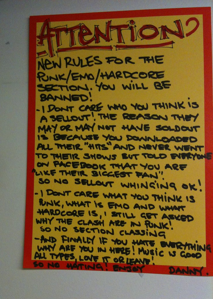 New Rules for the Punk/Emo/Hardcore Section