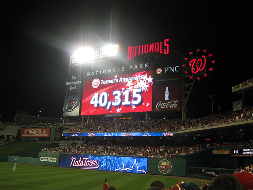 Attendance at the Strasburg game at Nationals Park