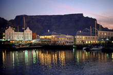 Table Mountain and V&A Waterfront at dusk