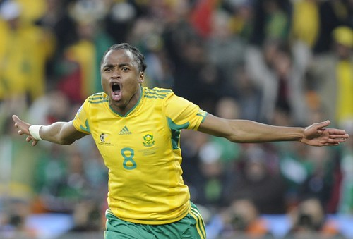 South Africa's midfielder Siphiwe Tshabalala celebrates after scoring the opening goal of their Group A first round 2010 World Cup football match on June 11, 2010 at Soccer City stadium in Soweto