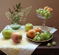 Splendid Summer. (Esther Spektor - Thanks for 7 millions views..) Tags: lighting flowers summer stilllife white macro green apple glass fruits leaves ye