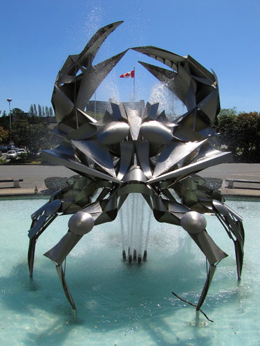 Stainless steel crab sculpture/fountain by George Norris at the Vancouver Planetarium or H.R. MacMillan Space Centre