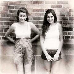 lost and found (bongopix) Tags: school girls blackandwhite bw 120 film photoshop twins kodak double brownie hawkeye retouch cs4