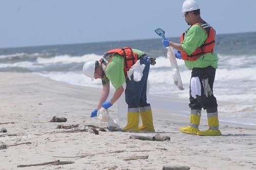 Beseitigung von Öl am Strand von Petit Bois Island im US-Bundesstaat Mississippi