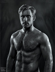 Pavel 08 (WF portraits) Tags: bear portrait hairy white black male studio naked nude beard model muscle chest blonde