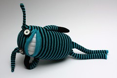 Boris is sexy, oh yeah! (Odd Sox) Tags: toy happy soft teeth stripe smiles plushie quirky sockcreature oddsox sockcritter