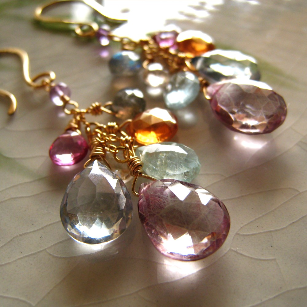 Multi gemstone and gold filled dangle earrings - Rainbows over Hilo Pastel