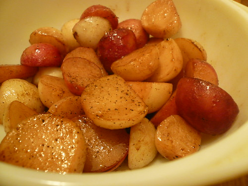 Butter-braised turnips and radishes