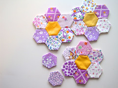 Hexagon Quilt (sweetpeandco) Tags: vintage purple quilt feedsack hexagon feed sack patchwork