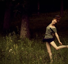 Broken and scarred beyond repair but still alive. (Allison Imagining) Tags: ballet flower broken forest pose hair jump ribbons lily darkness legs dancer crop wildflowers clover survival outtake scarred daytoday beyondrepair