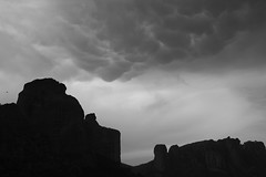mammatus clouds over Meteora rocks