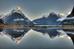 Mitre Peak, Fiordland, New Zealand (*amy&kimball) Tags: newzealand mountain snow reflection sunrise reflect southisland mitre range fiord mitrepeak glacial fiordland glacialvalley hangingvalley