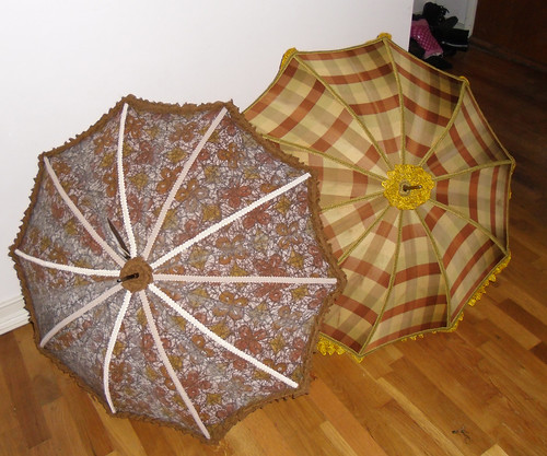 batik and plaid parasols