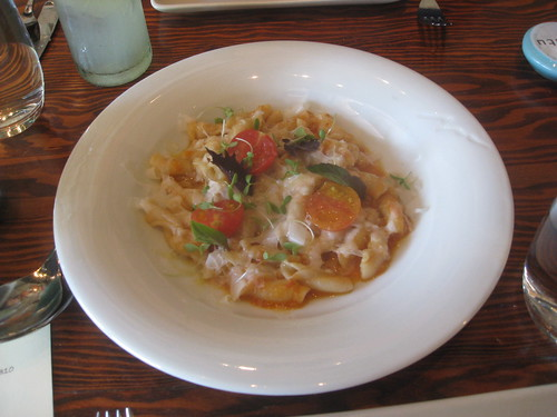 Ubuntu - Napa, California - Garden Inspired Extruded Pasta with Spiced Fiore and Confit 'Gajo de Melon'