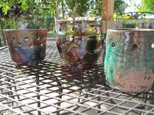 Mine, Lil' Mermaid's & Hot Rod's raku pottery