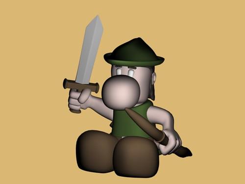 Narizón arquero con espada