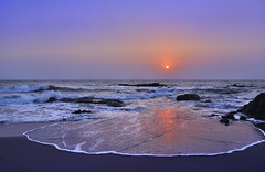 Kerrala  Sunset (Clearvisions) Tags: blue sunset sea india three sand gallery waves andromeda angels winner ribbon winners the kerrela 50awards