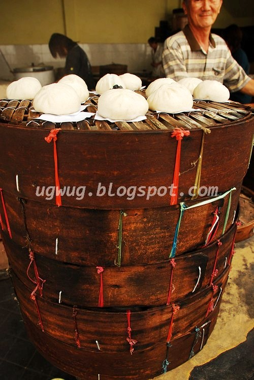 Steamed Buns on Bamboo Steamer Tray