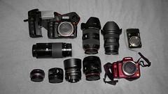 The Kit - November 2010 (Tomodo89) Tags: camera zeiss 35mm bag lumix 50mm minolta f14 sony 85mm panasonic tokina carl kit cz alpha f18 50 35 85 f28 f4 lenses 2470 a700 1116 gh1 tz7 zs3