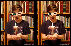 7 (sleightman 3D) Tags: allrightsreserved copyrightcarlwilson 3d 3dphotography 7 seven crosseye crossview depth stereoview stereo stereoscopic stereogram sleightman stereocard kid boy candle anaglyph glasses books library office levitation floating celebration surprise