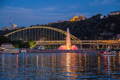 Pittsburgh at Night (Handheld) (Lee of Western PA) Tags: pittsburgh canon sigma zoom night city fountain crowd water river pennsylvania bridge