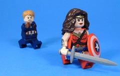 That's My Shield! (MrKjito) Tags: lego minifig super hero comic comics wonder woman captain america steve rodgers fourth july crossover shield