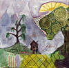 jagged peaks and the sun is shining (Beersama) Tags: trees house color history texture field fog painting landscape happy escape flat path mixedmedia small warped dreaming oil expressionism layers depth graphite oneric warmplace