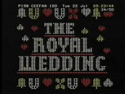 CEEFAX Royal Wedding Front Page on BBC1