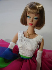 """FAVE (2008) repro ash brown 1070 """"American Girl"""" Barbie with Bendable legs (1965-67) enhanced by Matt Sutton wearing non-Mattel repro of #1638 Fraternity Dance (1965) (Tinker*Tailor loves Lalka) Tags: girl fashion toy model doll dolls legs bend handmade ooak leg vinyl barbie fave collection american ag 1960s hairstyle inventory reproduction mattel teenage midcentury blag bendable bl repro repainted"""