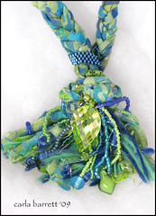 carlabarrett fiber necklace (Carla's Feathered Fibers) Tags: necklace beads fabric cz beading pendantnecklacefibernecklaceczpendantczfabricnecklace