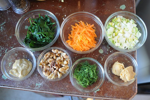 Ingredients for Spinach Tofu Burgers