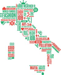 ITALIA (albyantoniazzi) Tags: red italy green weather fashion typography design words italia designer map mila