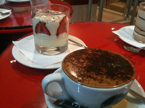 Coffee and crema di fragola at Vapiano