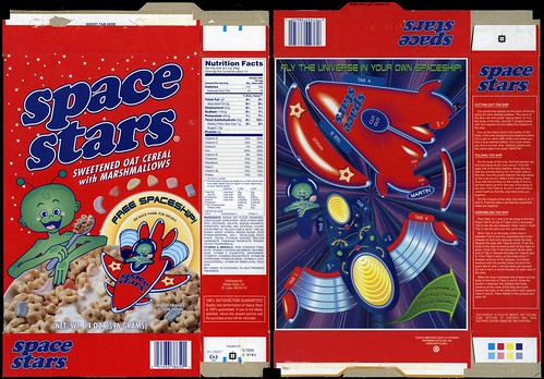 Moran Foods - Space Stars cereal box - cut-out spaceship - 1998