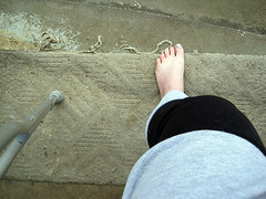 365:10. the first step. (leafytreeful) Tags: selfportrait foot grey leg gray injury wrap step 365 knee crutch