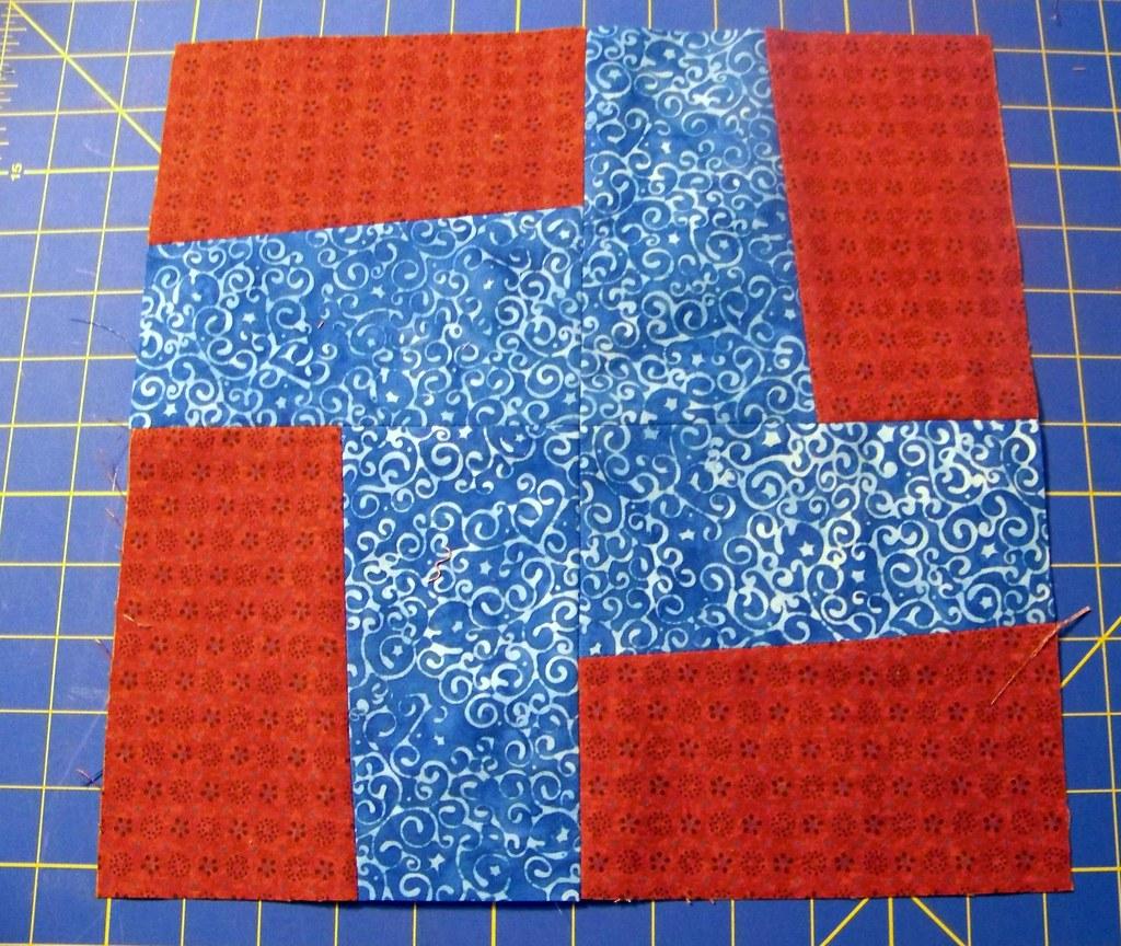 Tracy's wonky pinwheel block 1