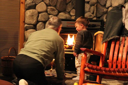 dad and luke starting a fire