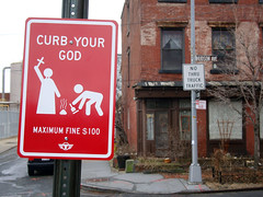 CURB YOUR GOD (i_follow) Tags: street new york city nyc urban art sign metal brooklyn god fine your 100 curb ifollow trustocorp
