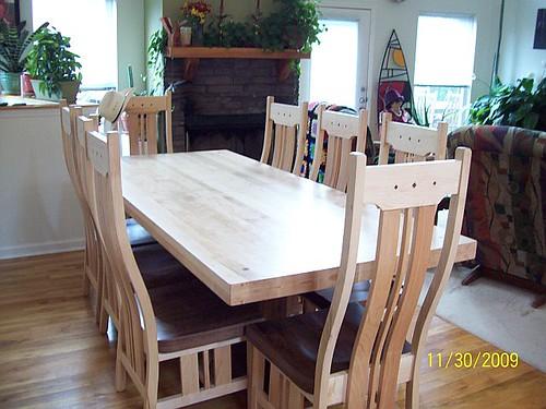 Double Pedestal Table - Maple & Walnut Base