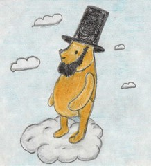 Poohbraham Lincoln (Giant Hamburger) Tags: wood alien pooh lincoln 100 winnie 16th acre gianthamburger poohbrahamlincoln poohbraham alienvspooh
