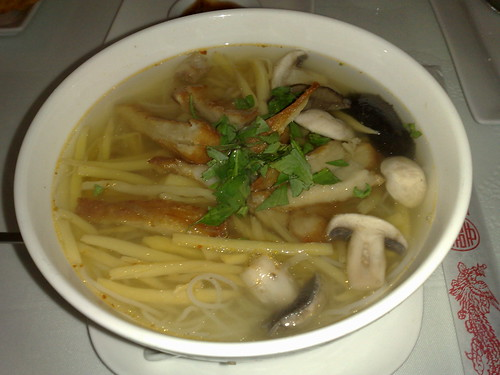 bamboo rice noodle soup with crispy veggie chicken