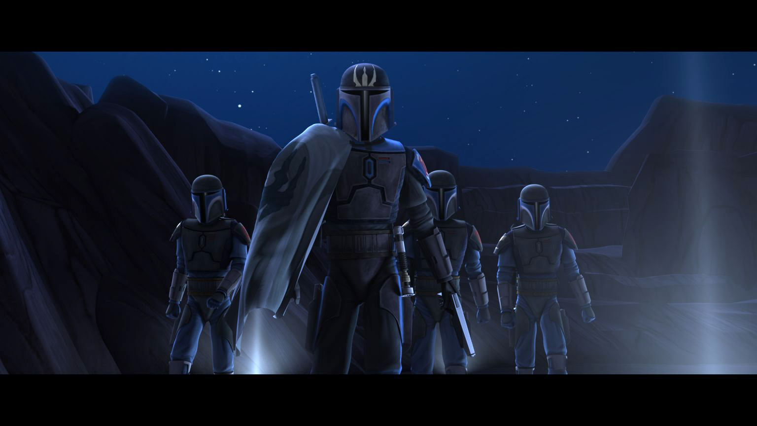 "Mandalorian warriors prepare for battle in ""The Mandalore Plot,"" an all-new episode of STAR WARS: THE CLONE WARS premiering at 9:00 p.m. ET/PT Friday, January 29 on Cartoon Network. TM & © 2010 Lucasfilm Ltd. All rights reserved."